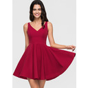 A-Line V-neck Short/Mini Stretch Crepe Homecoming Dress (300244013)