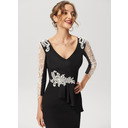 Sheath/Column V-neck Knee-Length Stretch Crepe Cocktail Dress With Lace (016230190)