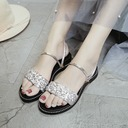 Women's Leatherette Sparkling Glitter Flat Heel Sandals Flats Peep Toe Slingbacks With Others shoes