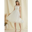 A-Line Scoop Neck Knee-Length Tulle Lace Wedding Dress With Sequins (002234890)