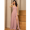 A-Line V-neck Floor-Length Chiffon Bridesmaid Dress With Ruffle Split Front (007233655)