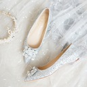 Women's Leatherette Sparkling Glitter Flat Heel Closed Toe With Buckle Crystal