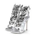 Women's Patent Leather Stiletto Heel Sandals With Buckle shoes