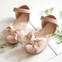 Girl's Peep Toe Leatherette Flat Heel Flats Flower Girl Shoes With Bowknot Velcro