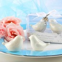 Two lovely, white-ceramic birds perfectly paired as salt and pepper shakers (Set of 2)
