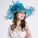 Ladies' Glamourous Cotton/Net Yarn With Silk Flower Floppy Hat/Kentucky Derby Hats