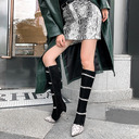Women's Leatherette Stiletto Heel Knee High Boots With Buckle Zipper shoes