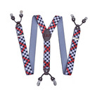 Personalized Formal Check Y-Back Clip-On Polyester Leather Suspenders