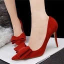 Women's Suede Stiletto Heel Pumps With Bowknot shoes