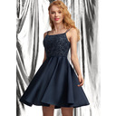 A-Line Square Neckline Short/Mini Satin Homecoming Dress With Lace Sequins (022236555)