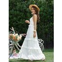 A-Line V-neck Ankle-Length Wedding Dress With Lace (002259128)
