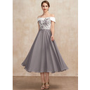 A-Line Off-the-Shoulder Tea-Length Chiffon Lace Mother of the Bride Dress (008252064)