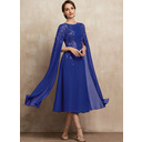 Scoop Neck Tea-Length Chiffon Lace Mother of the Bride Dress With Sequins (267250553)