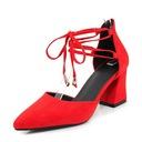 De mujer Ante Tacón ancho Sandalias Salón Cerrados con Hebilla Cordones zapatos