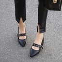 Women's Leatherette Chunky Heel Pumps Closed Toe With Imitation Pearl Others Braided Strap Split Joint Elastic Band shoes