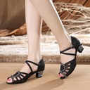 Women's Lace Heels Sandals Latin With Ankle Strap Dance Shoes