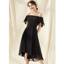 A-Line Off-the-Shoulder Asymmetrical Chiffon Cocktail Dress With Cascading Ruffles (016252892)