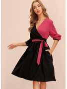 A-Line V-neck Knee-Length Polyester Cocktail Dress