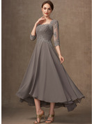 A-Line Square Neckline Asymmetrical Chiffon Lace Mother of the Bride Dress With Beading Sequins
