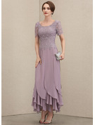 A-Line Scoop Neck Ankle-Length Chiffon Lace Evening Dress With Cascading Ruffles