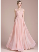 A-Line/Princess Floor-Length Chiffon Lace Bridesmaid Dress With Beading Sequins