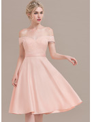 A-Line Off-the-Shoulder Knee-Length Satin Cocktail Dress With Beading Sequins