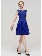 A-Line/Princess Scoop Neck Knee-Length Satin Cocktail Dress