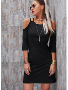 Solid Sheath Round Neck Cold Shoulder Sleeve Midi Casual Dresses