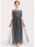 A-Line Scoop Neck Ankle-Length Tulle Lace Junior Bridesmaid Dress With Beading