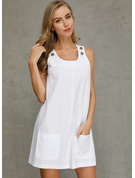 Cotton With Button/Solid Above Knee Dress