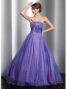 Ball-Gown Strapless Floor-Length Organza Quinceanera Dress With Beading