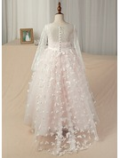 Ball Gown Floor-length/Sweep Train Flower Girl Dress - Satin/Tulle/Lace Long Sleeves Scoop Neck With Appliques