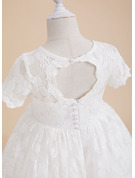 A-Line Knee-length Flower Girl Dress - Lace Short Sleeves Scoop Neck With Back Hole