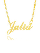 [Free Shipping]Custom 18k Gold Plated Silver Signature Name Necklace