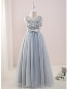 A-Line Floor-length Flower Girl Dress - Tulle/Lace Sleeveless V-neck With Beading/Flower(s)