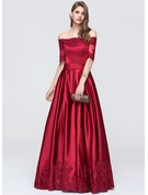 A-Line/Princess Off-the-Shoulder Floor-Length Satin Prom Dresses With Ruffle