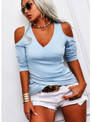 Regular Cotton Blends Cold Shoulder Solid Fitted Blouses