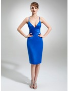 Sheath/Column V-neck Knee-Length Satin Cocktail Dress
