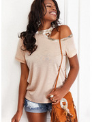 Regular Fitted Solid Casual Short Sleeves