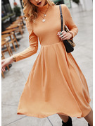 Solid A-line High Neck Long Sleeves Midi Elegant Skater Dresses