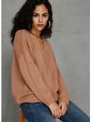 Couleur Unie Col V Pull-overs Pulls
