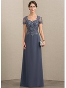 A-Line Sweetheart Floor-Length Chiffon Lace Evening Dress With Beading Sequins