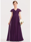 V-neck Floor-Length Chiffon Junior Bridesmaid Dress With Bow(s) Cascading Ruffles
