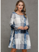 Polyester With Plaid Knee Length Dress