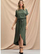 Polyester With Resin solid color Asymmetrical Dress