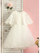 Knee-length Flower Girl Dress - Tulle Sleeveless Scoop Neck With Beading Bow(s)