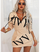 Print Bodycon Hooded Long Sleeves Midi Casual Sweatshirt Dresses