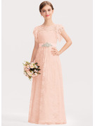 Scoop Neck Floor-Length Lace Junior Bridesmaid Dress With Beading Bow(s) Cascading Ruffles