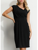 Polyester/Spandex With Solid Knee Length Dress