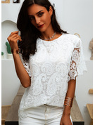 Regular Polyester Round Neck Lace Solid 3XL L S M XL XXL Blouses